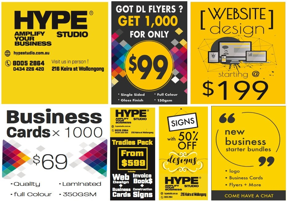 Sales and specials,  very cheap business cards, sign designs, invoice books, flyers and websites
