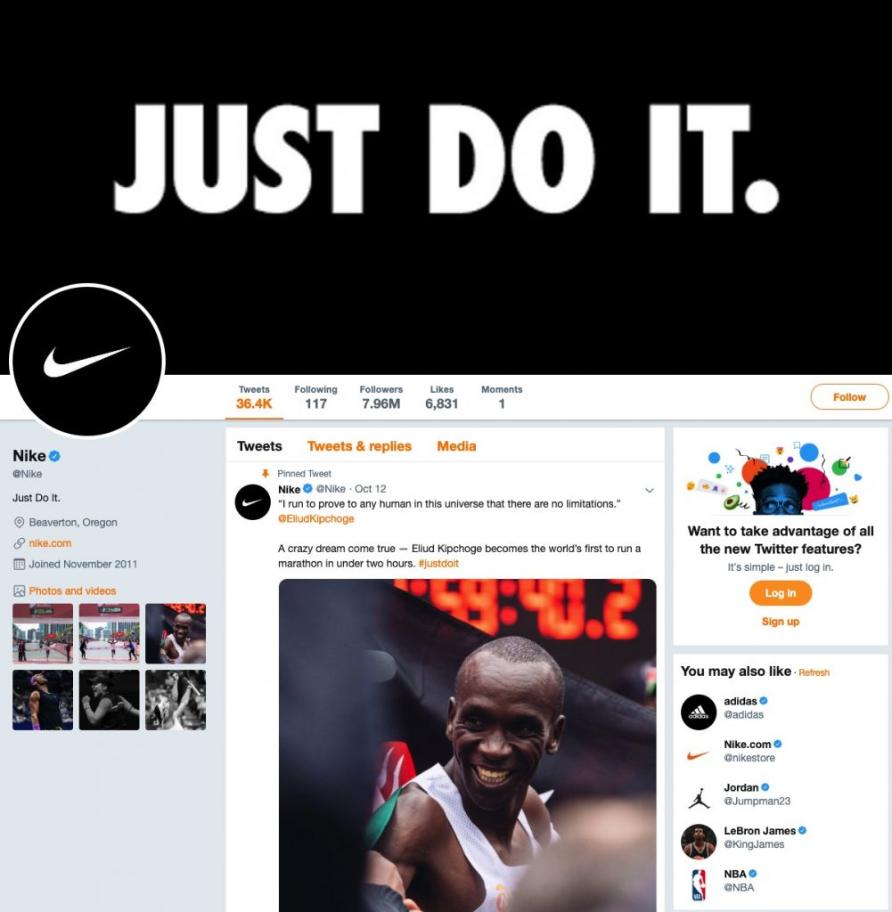 Nike twitter page